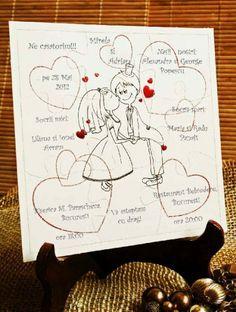 """Invitatie de nunta haioasa """"Puzzle"""". Agenda Planner, Playing Cards, Invitations, Bride, Wedding Ideas, Weddings, Style, Wedding Invitations, Christening"""