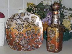 Decorative Hand Painted Bottle and Plate