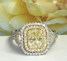 Ct GIA Certified Yellow Diamond Ring, Radiant Cut Diamond Engagement Ring w/ Trillion Cut Side Diamonds, Halo Ring, White Gold Radiant Cut Diamond, Round Cut Diamond, Yellow Diamond Rings, Yellow Engagement Rings, Glitters, Ring Designs, Jewerly, Halo, Fine Jewelry