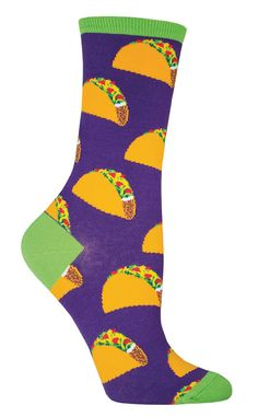 Add some extra meat, tomato and lettuce into your diet with these awesomely colorful food socks in either purple or black. No need to wait until Tuesday, feel free to indulge in your Mexican food crav Silly Socks, Funky Socks, Crazy Socks, Cute Socks, Happy Socks, Women's Socks, Food Socks, Novelty Socks, White Elephant Gifts