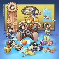 Bioshock - Big Daddy by Austh on DeviantArt Video Games Funny, Funny Games, Bioshock Artwork, Bioshock Game, Bioshock Series, We Bare Bears Human, Bioshock Infinite, Horror Movie Characters, Art Folder