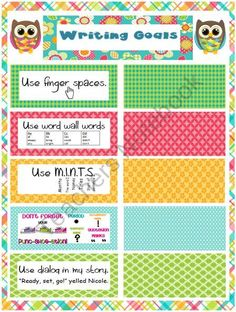 This owl themed writing goals poster can be made on a poster Writing Goals, Sentence Writing, Narrative Writing, Writing Sentences, Writing Skills, Kindergarten Language Arts, Classroom Language, Kindergarten Literacy, Owl Theme Classroom