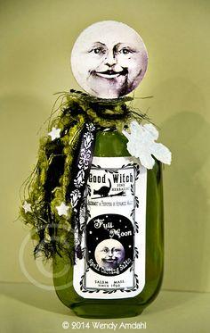 Halloween Potion Bottle Victorian Full Moon