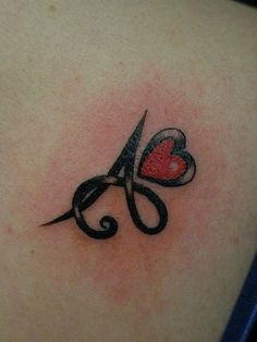 Initial And Heart Tattoo I think this would be cute to have each of the kids first letters