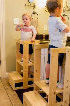 Tot Tower Safe Step Stool Child Safety Kitchen Stool At Home Bedroom Materials Learning Tower, Diy Stool, Personalized Aprons, Kitchen Helper, How To Grow Taller, Kitchen Stools, Child Safety, Furniture, Child Step Stool