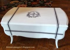 Fleur de Lis Coffee Table - it ended up so pretty.  From maple to this.
