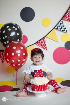 Allison Rose Photography 1st Birthday Cake Smash Mickey Mouse Minnie Mouse Red Yellow and Black