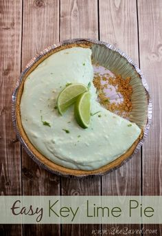 This Easy Key Lime Pie Recipe is a total snap to make and it's so good! Just a few basic ingredients mixed together, chill for an hour, and dig in!
