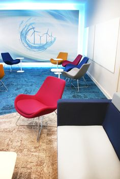 Office Fit Out - Team Room - Brainstorm - Screen - Backlit - Lounge Chair - Carpet Design - Interface Net Effect - Sustainable - Blue - Cream - ESB HQ, Dublin, by Think Contemporary                                                                                                                                                                                 More