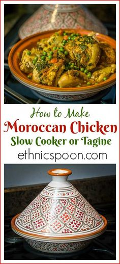 A super easy dish to make with exotic flavors. Moroccan Chicken Tagine recipe: 5 star easy North African dish cooked in a clay vessel or slow cooker. A nice ethnic alternative to chicken stew. Moroccan Chicken Tagine Recipe, Moroccan Tagine Recipes, Moroccan Dishes, Moroccan Spices, Moroccan Food Recipes, Slow Cooker Recipes, Crockpot Recipes, Cooking Recipes, Cooking Ribs