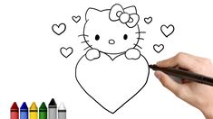 valentine draw drawing kitty hello valentines easy drawings step tutorial lessons steps learn grade 2nd