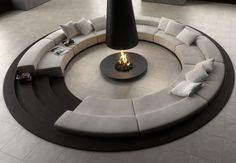1 Circular Conversation Pit Central Fireplace of Stunning Conversation Pits & Sunken Sitting Areas Around The House from Living Room Designs