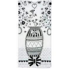 Black and white floral print tea towel. Features an attached bow and two loops for hanging.