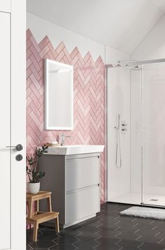 From the shower to the basin, Crosswater will help you kit your bathroom out with our range of furniture, ceramics and brassware. Find your local retailer. Pink Bathroom Furniture, Pink Bathroom Tiles, Small Bathroom, Blush Bathroom, Pink Bathrooms, Bathroom Ideas, Pink Toilet, Mini Bad, Bathroom Design Luxury