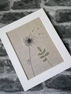 Original textile picture dandelion picture dandelion art