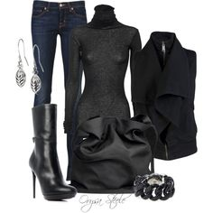 """Into the Black"" by orysa on Polyvore"