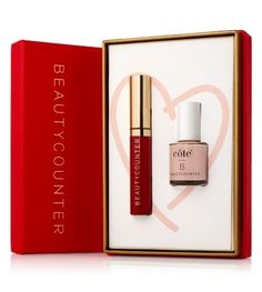 Beautycounter's high-shine Ruby Lip Gloss pairs up perfectly with côte's safer Nail Polish for an exclusive Valentine's Day Duo every woman will love.