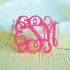 hot pink acrylic monogram necklace with interlocking font (4 sizes, 2 font choices, silver or gold tone chain option) $54