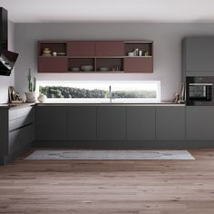 with grey and ower new plom lacquer doors.The new upper cabinets with sliding door are so functional. Grey Cabinets, Upper Cabinets, Kitchen Cabinets, Mid Century Modern Kitchen, Black Kitchens, Studio Apartment, Kitchen Dining, Mid-century Modern, Interior Design