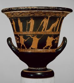 Calyx-krater (vessel for mixing wine and water) depicting Herakles, Theseus, and Perithous in Hades [Greek; Attic] (08.258.21) | Heilbrunn Timeline of Art History | The Metropolitan Museum of Art