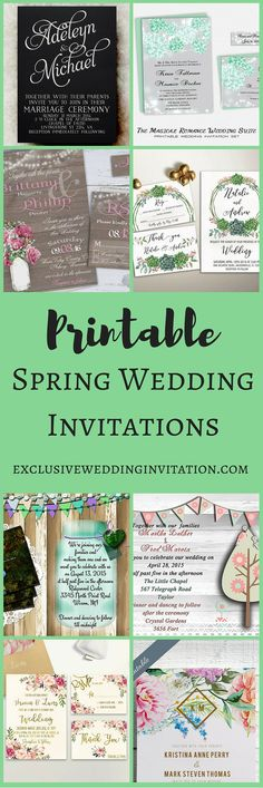 Printable Spring Wedding Invitations