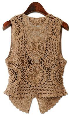 Beige Motif Vest free crochet graph pattern