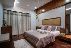 A Sophisticated And Urbane Apartment Interior In Ahmedabad | Space Studio - The Architects Diary Wooden Plane, Niche Design, White Brick Walls, Bed Rooms, Wall Cladding, Ahmedabad, Tv Unit, Apartment Interior, Contemporary Interior