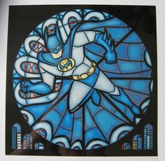 Stained Glass Batman Print. Miniature prints that imitate the look of stained glass. Just tape one up in the window and viola, instant stained glass! Or, at this size, you can use your favorite X-man as a fancy bookmark. $10 #batman #print #art    IMPORTANT: When you order ONE, please note which character you would like. You can choose from Iceman, Miss Marvel (or Jean Grey), Cyclops, Angel or Beast.    Approximately 3 x 7 in.