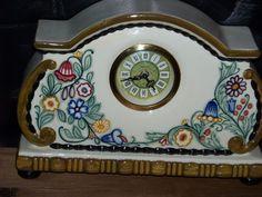 ** Alfred Kusche - Uhr Pflanzen (1916) - Sammelwürdig - Karlsruher Majolika **