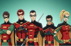 Left to right: Dick Grayson, Jason Todd, Tim Drake, Damian Wayne, Stephanie Brown *Assembled with character portraits commissioned by Roysovitch&nb. Jeff Chapman, Crimson Avenger, Son Of Batman, Team V, Green Lantern Corps, Stephanie Brown, Team Arrow, Tim Drake, Damian Wayne
