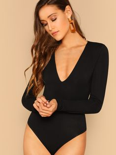 d3010e4ad3 To find out about the Plunging Neck Form Fitted Bodysuit at SHEIN, part of  our latest Bodysuits ready to shop online today!