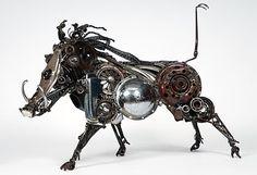 Warthog sculpture by James Corbett, car parts artist in Australia.