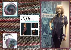 *15204* Deze mooie shawl maakte een klant met Novena Color van Lang Yarns. Een super licht breigaren uit prachtig merino en alpacawol met interessant kleurverloop. Door de speciale innovatieve manier van spinnen zijn superlichte kledingsstukken nu mogelijk. Het patroon van de shawl ligt voor je bij ons klaar bij aankoop van de wol naald d 4,5 22 st x 31 nld =10 x 10 cm  samenstelling: 50% wol( merino) , 30% alpaca, 20% polyamide
