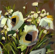 Cream Bouquet Art Print by Angela Moulton 8 x 8 inch
