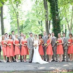 I kind of like the tan suits with the coral dresses