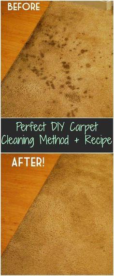 DIY Carpet Cleaning Method + Recipe Perfect DIY Carpet Cleaning Method + Recipe= 2 parts water, 1 part vinegar and steam Iron.Perfect DIY Carpet Cleaning Method + Recipe= 2 parts water, 1 part vinegar and steam Iron.