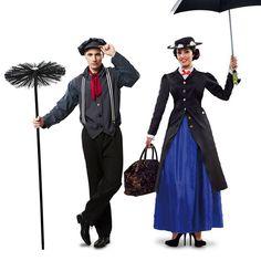 Pareja Mary Poppins y Deshollinador Mary Poppins Adult Costume, Mary Poppins Disfraz, Mary Poppins Halloween, Mary Poppins Movie, Disney Characters Costumes, Comic Con Costumes, Jazz Costumes, Carnival Costumes, Diy Costumes