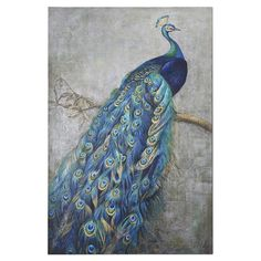 Showcasing a perching peacock motif, this hand-painted burlap and wood wall decor brings gallery-worthy style to any room.   Produc...