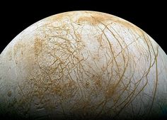 The frozen, fissured surface of Jupiter's moon Europa, seen here in a colorized mosaic image from the Galileo spacecraft [[MORE]] Photograph by Galileo Project/NASA/JPL; Reprocessed by Ted Stryk. Jupiter's Moon Europa, Jupiter Moons, Space Planets, Space And Astronomy, Cosmos, Planets And Moons, Nasa, Nebulas, Planets