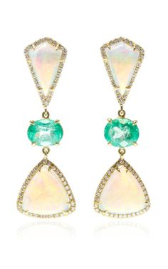 One Of A Kind Crystal Opal And Emerald Three Tier Earrings by Nina Runsdorf for Preorder on Moda Operandi