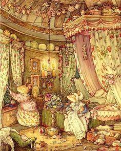 illustration from 'Poppy's Babies' of the Brambly Hedge series by Jill Barklem Grafic Design, Brambly Hedge, Motifs Animal, Arte Sketchbook, Beatrix Potter, Children's Book Illustration, Book Illustrations, Hedges, Illustrators