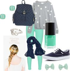 """Gray, Dots, Navy and Mint Set"" by bekahjoy813 on Polyvore"