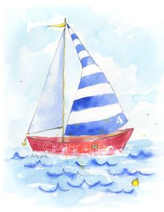 Hang this little sailboat art print onto the walls of your child's nursery to add that extra special nautical touch. Loosely drawn and painted in watercolor, this little boat will surely delight with bright blue stripes, a touch of red and a bit of whimsical texture. * Printed on archival watercolor textured paper * Fits standard sized mat and frame Customers Say: Kathy was amazing to work with! I asked her to change the color on these trucks and she was super patient with me as we worked to…