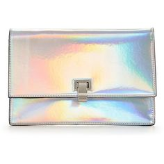 V By Very Holographic Envelope Clutch (21 NZD) ❤ liked on Polyvore featuring bags, handbags, clutches, unicorn purse, envelope clutch bag, hologram purse, party purses and party clutches