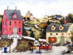 Joyful Villages - American Folk Art by  Linda Nelson Stocks  - Wagon Ride,  Americana Folk Art of Early  American Village 1600*1200  12