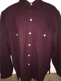 Vtg Woolrich Wool Blend Shirt Jacket Large Maroon #Woolrich #ButtonFront