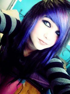 Amber Katelyn Beale purple scene hair