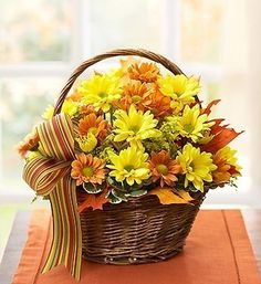 Fall Daisy Basket - fall basket with yellow and bronze daisies Grave Flowers, 800 Flowers, Cemetery Flowers, Fall Flowers, Send Flowers, Basket Flower Arrangements, Artificial Floral Arrangements, Fall Arrangements, Wedding Table Flowers