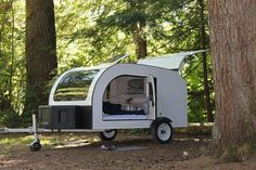 Droplet Trailer specializes in high tech teardrop travel trailers. Teardrop Camping, Teardrop Camper Trailer, Tiny Camper, Camper Trailers, Rv Campers, Tiny Trailers, Small Campers, Truck Camper, Scamp Trailer