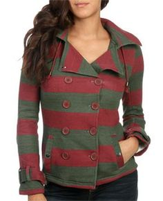 WetSeal Double Breasted Striped Jacket Olive -size M #Glimpse_by_TheFind